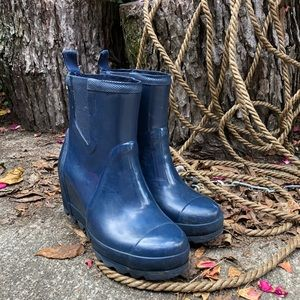 Sorel Joan Wedge Chelsea Short Rain Boots Navy